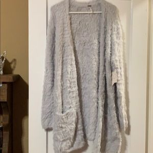 Free People faux fur cardigan with pockets